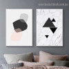 Geometric Abstract Nordic Framed Portrait Painting Canvas Print for Room Wall Flourish