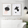 Geometric Abstract Nordic Framed Portrait Picture Canvas Print for Room Wall Garniture