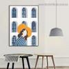 Orange Hat Women Abstract Minimalist Nordic Framed Artwork Photo Canvas Print for Room Wall Garniture