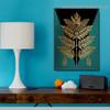 Golden Geometric Leaf Botanical Nordic Framed Portrait Photo Canvas Print for Room Wall Garnish