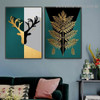 Auric Geometric Leaves Botanical Abstract Nordic Framed Artwork Image Canvas Print for Room Wall Drape