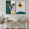 Multicolor Reindeer Head Abstract Bird Animal Nordic Framed Artwork Photo Canvas Print for Room Wall Decoration