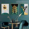 Golden Hooper Botanical Abstract Animal Nordic Framed Portrait Image Canvas Print for Room Wall Flourish