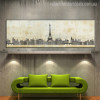Eiffel Tower Paris Abstract Cityscape Modern Painting Canvas Artwork Print for Room Wall Molding