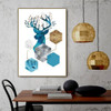 Blue Deer Abstract Animal Modern Framed Portrait Painting Canvas Print for Room Wall Ornament