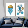 Blue Reindeer Abstract Animal Typography Modern Framed Portrait Image Canvas Print for Room Wall Drape