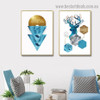 Blue Reindeer Abstract Animal Typography Modern Framed Portrait Photo Canvas Print for Room Wall Garnish
