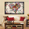 Love Art Abstract Contemporary Botanical Painting Canvas Print for Room Wall Ornament