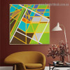 Colorific Zigzag Streaks Abstract Modern Framed Artwork Painting Canvas Print for Room Wall Drape