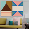 Brown Trigonal Abstract Geometric Modern Framed Portrait Painting Canvas Print for Room Wall Adornment