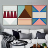Colorful Triangles Abstract Geometric Modern Framed Artwork Picture Canvas Print for Room Wall Flourish