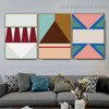 Colorful Triangles Abstract Geometric Modern Framed Artwork Image Canvas Print for Room Wall Garnish