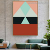 Multicolored Triangles Abstract Geometric Modern Framed Artwork Photo Canvas Print for Room Wall Drape