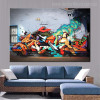 Smoke Animated Abstract Graffiti Painting Image Print for Lounge Room Wall Decor