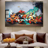 Smoke Animated Abstract Graffiti Painting Image Print for Living Room Wall Finery
