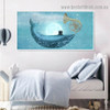 Starry Sky Dolphin Animal Fantasy Modern Framed Portrait Painting Canvas Print for Room Wall Adornment