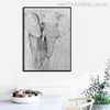 Big Elephant Abstract Animal Modern Painting Print for Dining Room Wall Getup