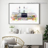 Mecca Mosque Abstract Religious Watercolor Framed Artwork Photo Canvas Print for Room Wall Decoration