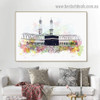 Mecca Mosque Abstract Religious Watercolor Framed Artwork Picture Canvas Print for Room Wall Garniture