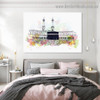 Mecca Mosque Abstract Religious Watercolor Framed Artwork Painting Canvas Print for Room Wall Ornament