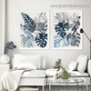 Tropical Palm Leaf Botanical Watercolor Framed Portrait Picture Canvas Print for Room Wall Spruce
