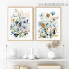 Motley Floral Leafage Botanical Watercolor Framed Portrait Picture Canvas Print for Room Wall Adornment