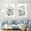 Motley Floral Leafage Botanical Watercolor Framed Portrait Image Canvas Print for Room Wall Decoration