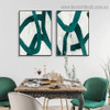 Vagabond Retro Line Abstract Modern Framed Artwork Photo Canvas Print for Room Wall Spruce