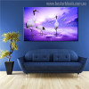 Red-Crowned Crane Seascape Birds Modern Painting Print for Living Room Wall Drape