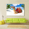 Camel Nature Landscape Animal Beach Canvas Artwork Print for Room Wall Drape