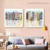 Neighborhood Architecture Watercolor Framed Portrait Photo Canvas Print for Room Wall Ornament