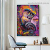 Colorful Chimpanzee Animal Graffiti Framed Artwork Picture Canvas Print for Room Wall Spruce