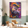 Colorful Chimpanzee Animal Graffiti Framed Artwork Portrait Canvas Print for Room Wall Drape
