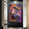 Colorful Chimpanzee Animal Graffiti Framed Artwork Image Canvas Print for Room Wall Flourish