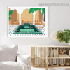 Sitting Human Architecture Illustration Modern Framed Artwork Picture Canvas Print for Room Wall Garnish