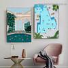 Swimming Pool Seaside Architecture Illustration Modern Framed Artwork Image Canvas Print for Room Wall Garnish