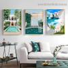Ocean Mount Architecture Illustration Modern Framed Portrait Image Canvas Print for Room Wall Flourish