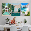 Ocean Mount Architecture Illustration Modern Framed Portrait Picture Canvas Print for Room Wall Decor