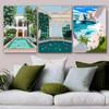 Ocean Mount Architecture Illustration Modern Framed Portrait Photo Canvas Print for Room Wall Garnish