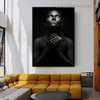 Golden Finger Tips Fashion Figure Modern Framed Artwork Portrait Canvas Print for Room Wall Decor