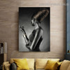 Black Skin Woman Fashion Figure Modern Framed Portrait Picture Canvas Print for Room Wall Decoration