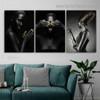 Closed Eyes Women Fashion Figure Modern Framed Artwork Image Canvas Print for Room Wall Drape