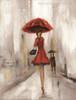 The Umbrella Girls Abstract Modern Watercolor Figure Canvas Artwork Print