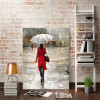 White Parasol Girl Contemporary Abstract Figure Watercolor Painting Portrait Canvas Print for Study Room Wall Disposition