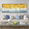 Golden Money Trees Abstract Modern Panoramic Picture Print for Lounge Room Wall Decor