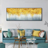 Golden Money Trees Abstract Modern Panoramic Picture Print for Lounge Room Wall Disposition