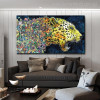 Fierce Leopard Abstract Watercolor Animal Painting Canvas Print for Living Room Wall Equipment