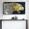 Fierce Leopard Abstract Watercolor Animal Painting Canvas Print for Room Wall Finery