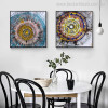 Annual Rings Abstract Watercolor Vignette Canvas Print for Dining Room Wall Assortment