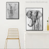 Elephants Abstract Contemporary Animal Canvas Artwork Print for Room Wall Adornment